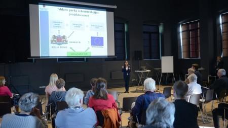 Atskats uz iedzīvotāju, NVO pārstāvju un speciālistu sanāksmi par Aldara parka rekonstrukcijas projekta ieceri