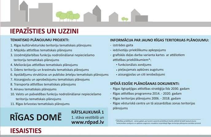 Turpinās sabiedrības iepazīstināšana ar 11 tematisko plānojumu projektiem jaunā Rīgas teritorijas plānojuma izstrādes ietvaros