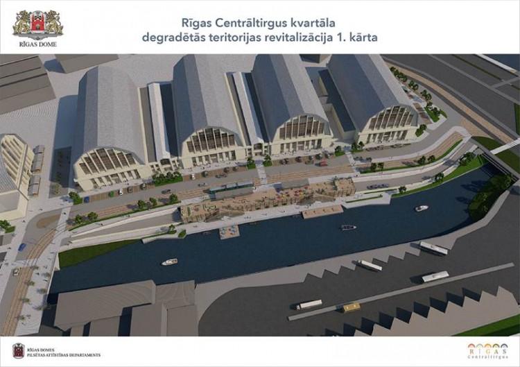"""Informēs par projekta """"Rīgas Centrāltirgus kvartāla degradētās teritorijas revitalizācija 1.kārta"""" būvniecības ieceri un sagaidāmajiem pilsētvides uzlabojumiem"""