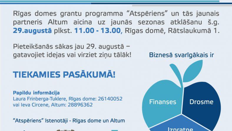 """Rīgas dome sadarbībā ar Attīstības finanšu institūciju Altum atklās  grantu programmas """"Atspēriens"""" 2017. gada rudens konkursu"""