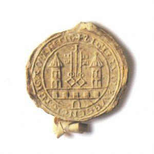 Rīgas pilsētas senākā zīmoga nospiedums ar heraldisko simboliku, 1226. g.