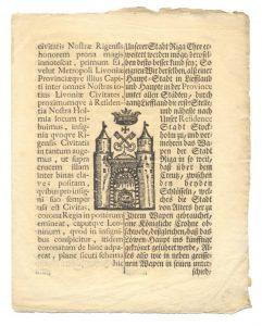 """""""Privilegium nobilitatis senatus Rigensis"""", 1660. g."""