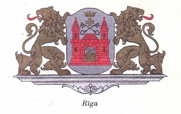 Rīgas pilsētas ģerbonis, 1925. g. (Latvijas pašvaldības ģerboņi. – Rīga. 1939. g.)