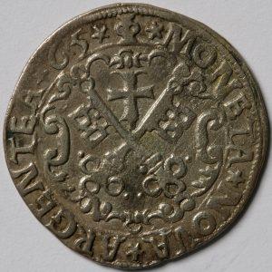Rīgas brīvpilsētas 1565. gada kaltās pusmārkas averss, reverss.