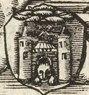 Rīgas panorāma ar pilsētas ģerboņiem, pirms 1547.g. H.Hazentētera kokgriezums