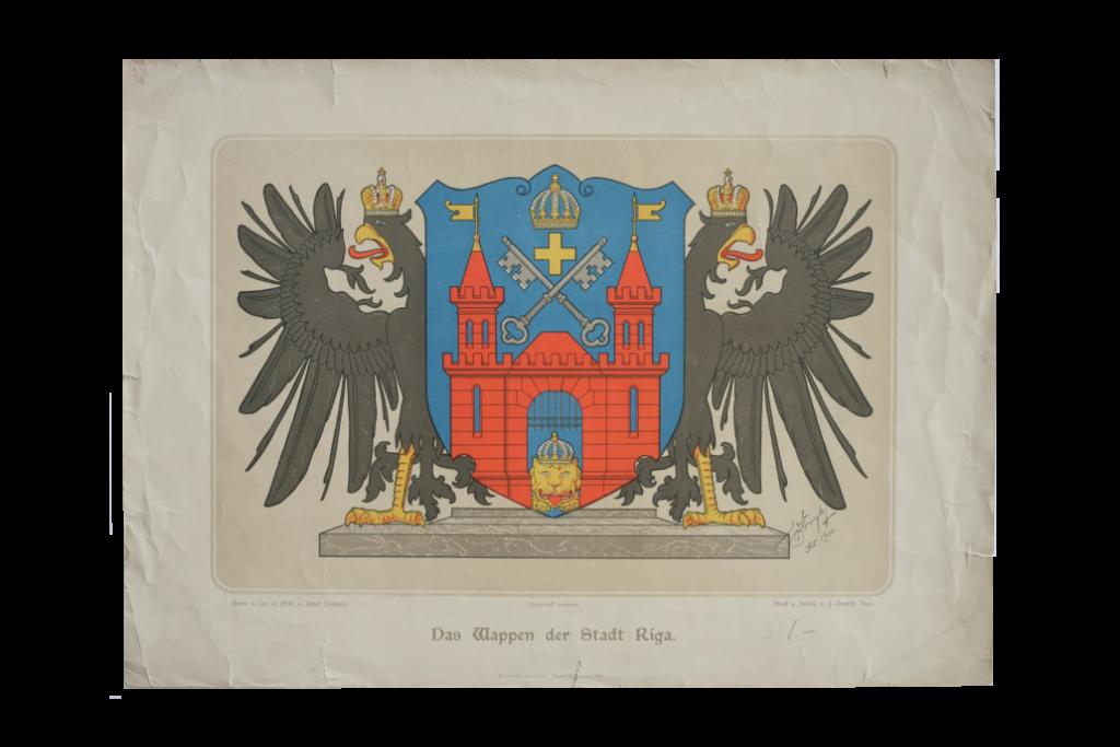 Litogrāfijas lapa ar Rīgas ģerboni, zīmējis arhitekts V. Štriks, 1900. g.