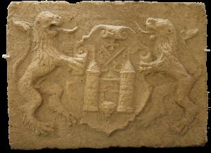 16. gadsimta vidus akmens kalums ar Rīgas pilsētas ģerboni.