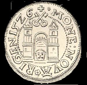 1526. gadā uz Livonijas ordeņa mestra Voltera fon Pletenberga (1494–1535) kaltajiem vērdiņiem pirmo reizi izmantots Rīgas pilsētas lielais ģerbonis